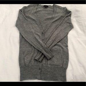 Jcrew 2017 Gray Long Merino Wool Buttoned Cardigan